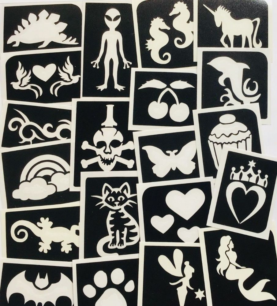 GLITTER TATTOO 20 GIRLS/BOYS STENCILS HEART ALIEN UNICORN MERMAID LIZARD BATMAN
